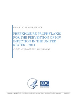 CDC PrEP Provider Supplement 2014