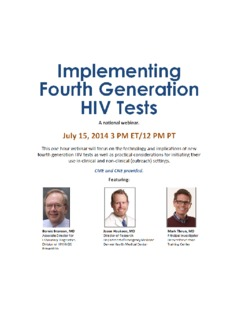 Implementing Fourth Generation HIV Tests Webinar